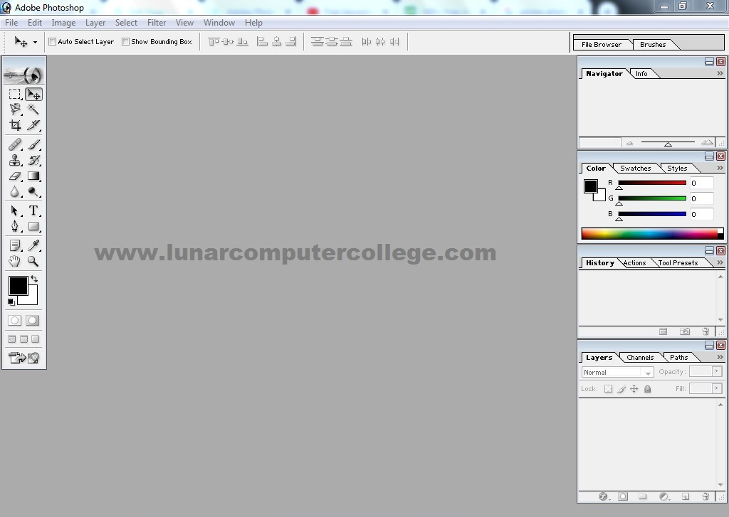 Adobe PhotoShop First Screen Interface Layout