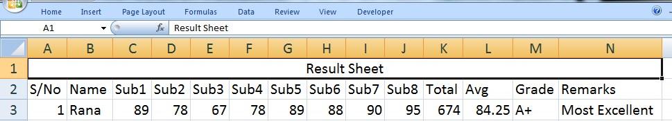 Result Sheet in Excel