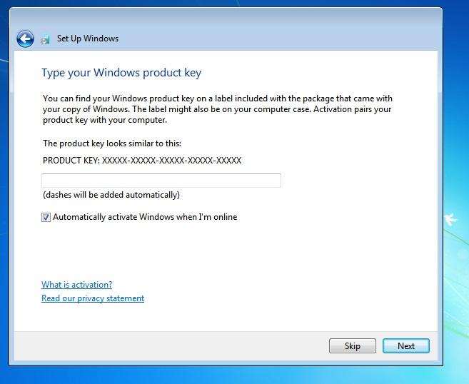 Windows 7 Product key page
