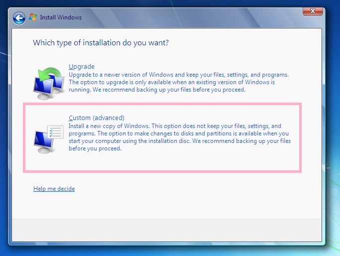 Windows 7 Upgrade Custom Advanced