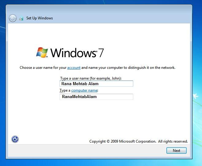 Windows 7 setup owner name