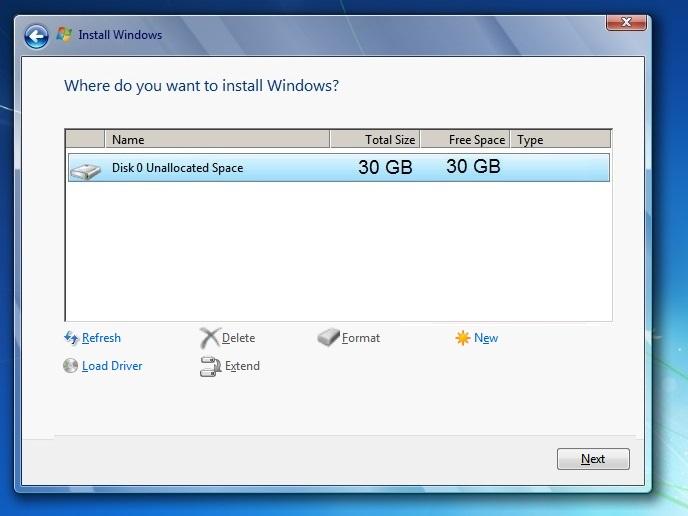 Windows 7 where to install new delete fornat