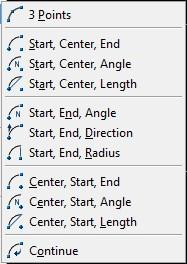 arc option in AutoCAD
