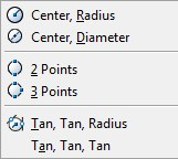 circle options in AutoCAD