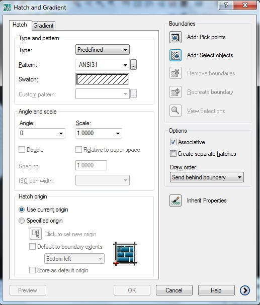 hatch and gradient window in AutoCAD