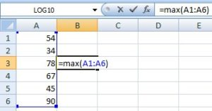 max in excel