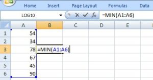 min in excel