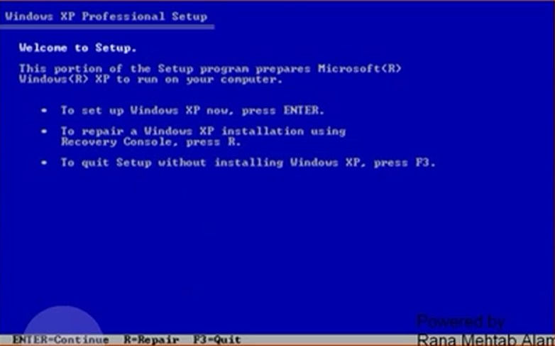 windows xp enter to continue
