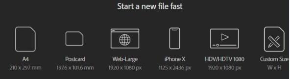 start a new file fast Adobe Illustrator first screen