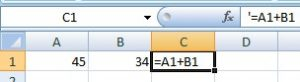 add two values in excel