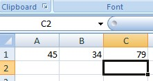 result of adding two values in excel