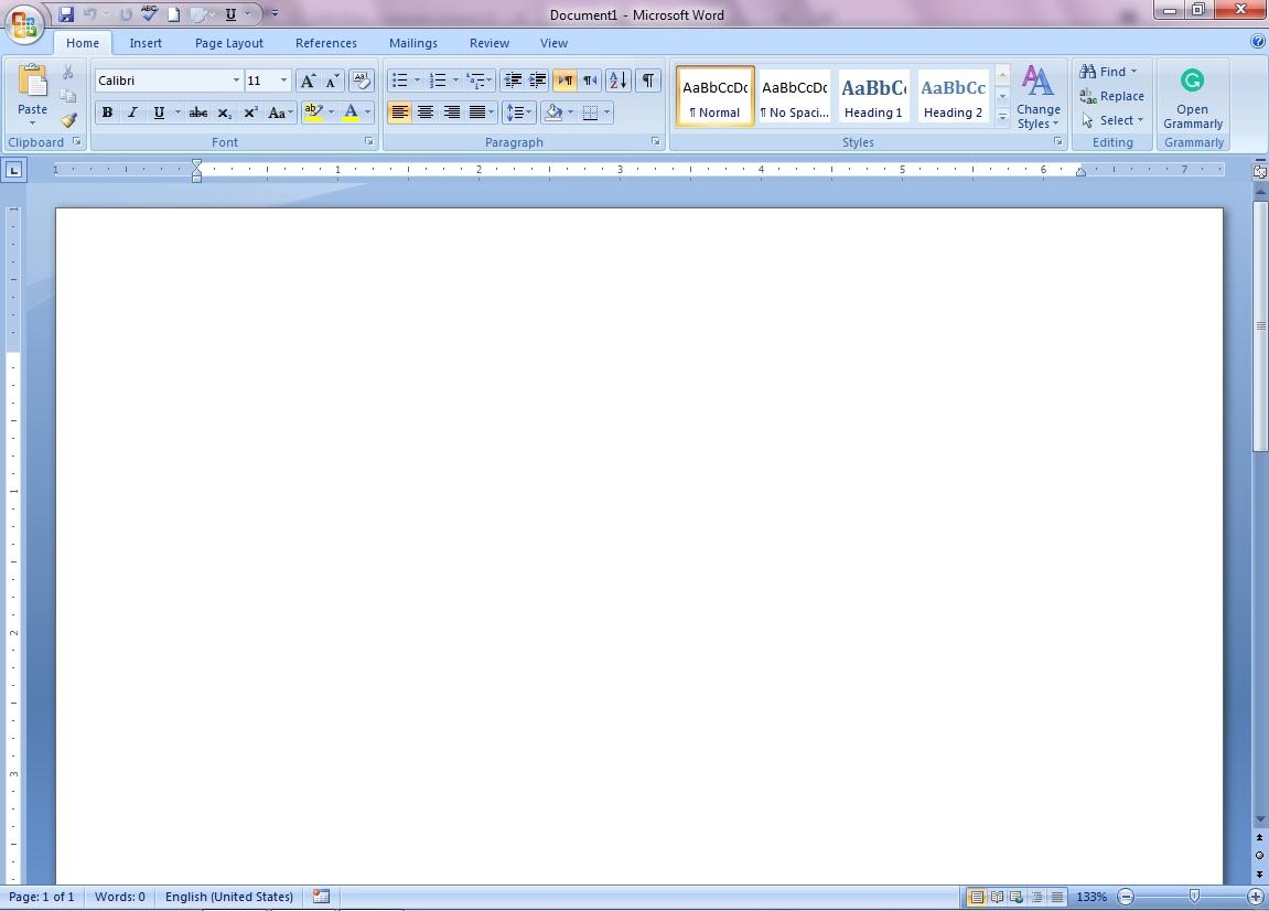 Microsoft Word first screen