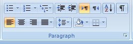 Paragraph Section Home Tab