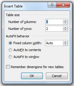 insert table window
